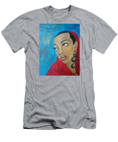 Red Scarf Men's T-Shirt (Slim Fit) by Jenny Pickens