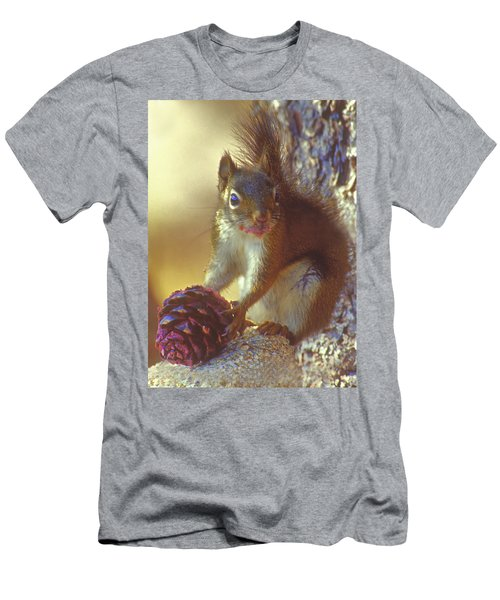Red Squirrel With Pine Cone Men's T-Shirt (Athletic Fit)