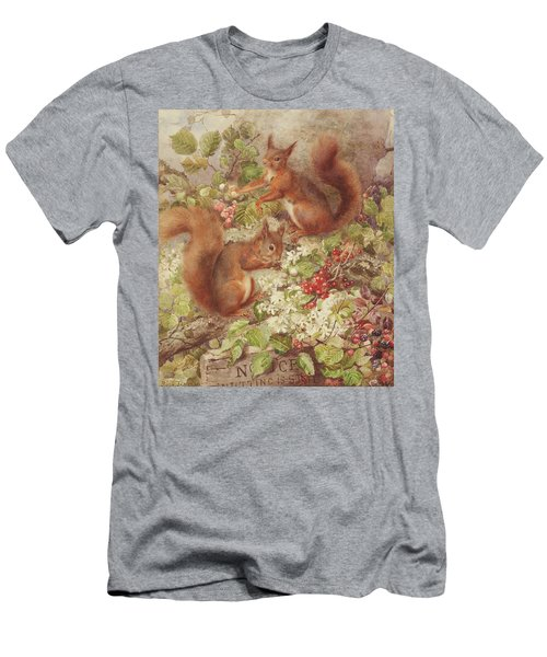 Red Squirrels Gathering Fruits And Nuts Men's T-Shirt (Athletic Fit)