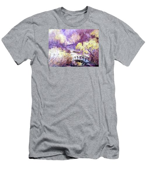 Men's T-Shirt (Slim Fit) featuring the painting Red Top Mountain Bridge by Gretchen Allen