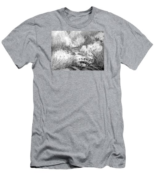 Red Top Mountain Bridge In Black And White Men's T-Shirt (Slim Fit) by Gretchen Allen