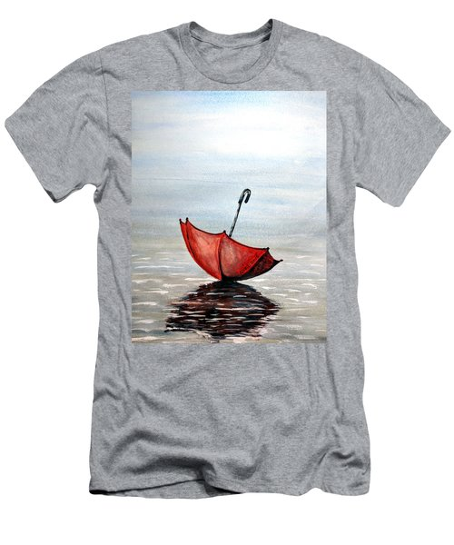 Men's T-Shirt (Slim Fit) featuring the painting Red Umbrella by Edwin Alverio