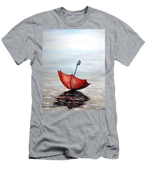 Red Umbrella Men's T-Shirt (Slim Fit) by Edwin Alverio