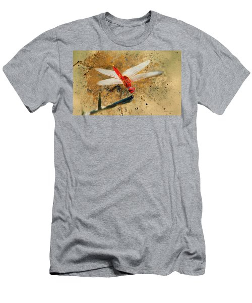 Men's T-Shirt (Athletic Fit) featuring the photograph Red Veined Darter Dragonfly by Bellesouth Studio