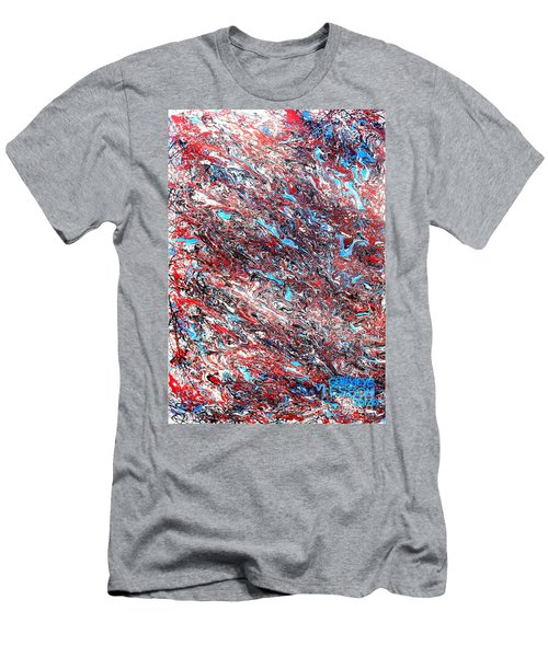 Men's T-Shirt (Slim Fit) featuring the painting Red White Blue And Black Drip Abstract by Genevieve Esson