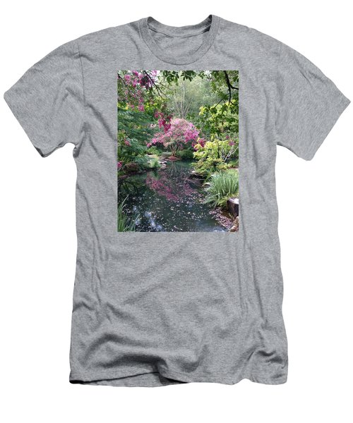 Men's T-Shirt (Slim Fit) featuring the photograph Reflecting Crape-myrtles by Linda Geiger