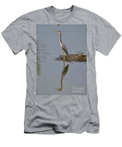 Men's T-Shirt (Slim Fit) featuring the photograph Reflecting Heron by Carol  Bradley