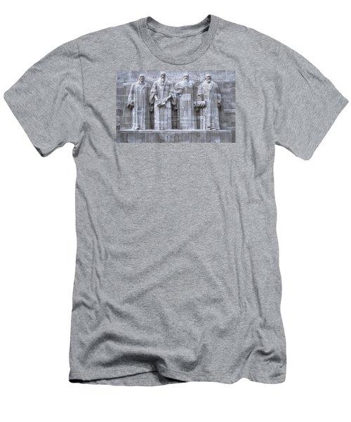 Reformers Wall, Geneva, Switzerland, Hdr Men's T-Shirt (Slim Fit) by Elenarts - Elena Duvernay photo