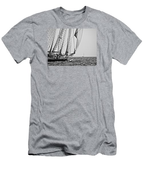 Regatta Heroes In A Calm Mediterranean Sea In Black And White Men's T-Shirt (Athletic Fit)