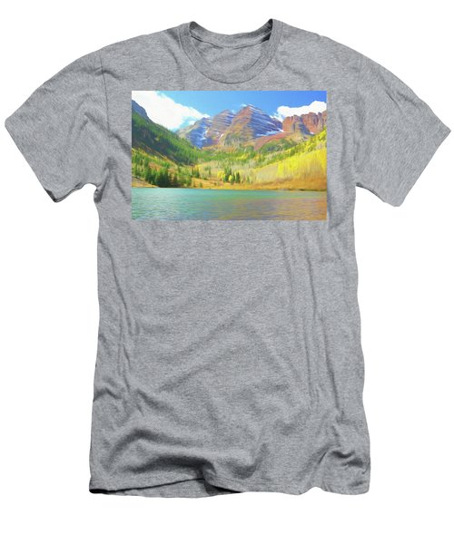 Men's T-Shirt (Slim Fit) featuring the photograph The Maroon Bells Reimagined 1 by Eric Glaser