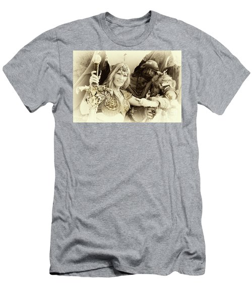 Men's T-Shirt (Slim Fit) featuring the photograph Renaissance Festival Barbarians by Bob Christopher