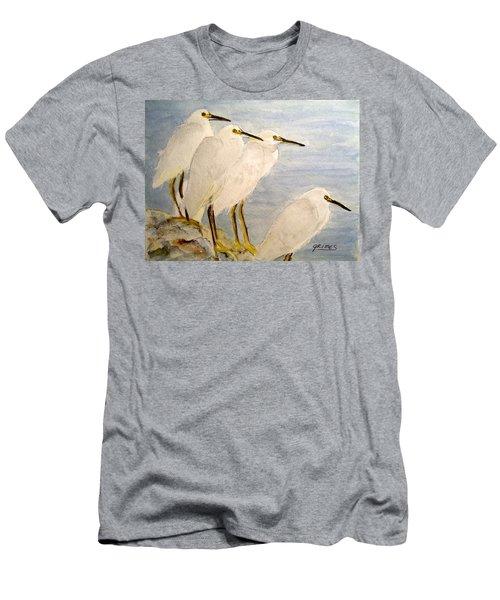 Resting Egrets Men's T-Shirt (Slim Fit) by Carol Grimes