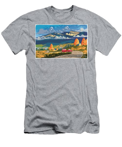 Retro Travel Autumn Landscape Men's T-Shirt (Athletic Fit)