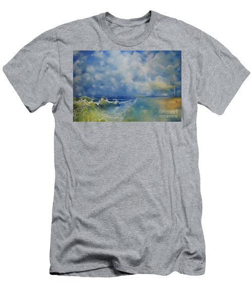 Men's T-Shirt (Slim Fit) featuring the painting Retrospection Seascape by Maja Sokolowska