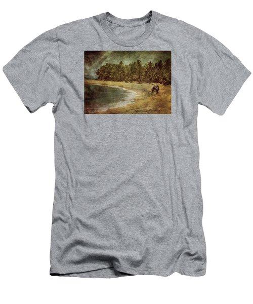 Riding On The Beach Men's T-Shirt (Slim Fit) by Vittorio Chiampan