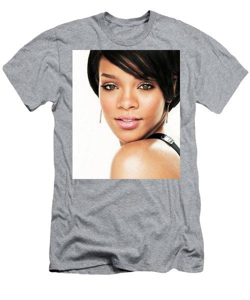 Rihanna Haircut Face Look Earrings 3964 300x360 Men's T-Shirt (Athletic Fit)