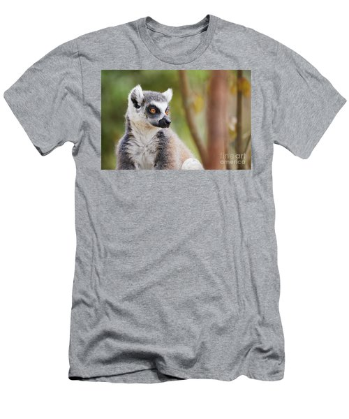 Men's T-Shirt (Athletic Fit) featuring the photograph Ring-tailed Lemur Closeup by Nick Biemans
