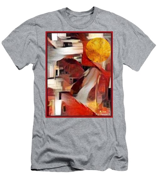 Men's T-Shirt (Slim Fit) featuring the mixed media Rise by Ray Tapajna