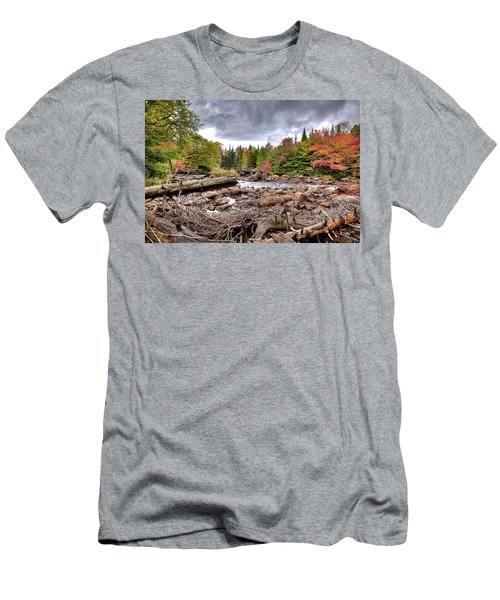 Men's T-Shirt (Slim Fit) featuring the photograph River Debris At Indian Rapids by David Patterson