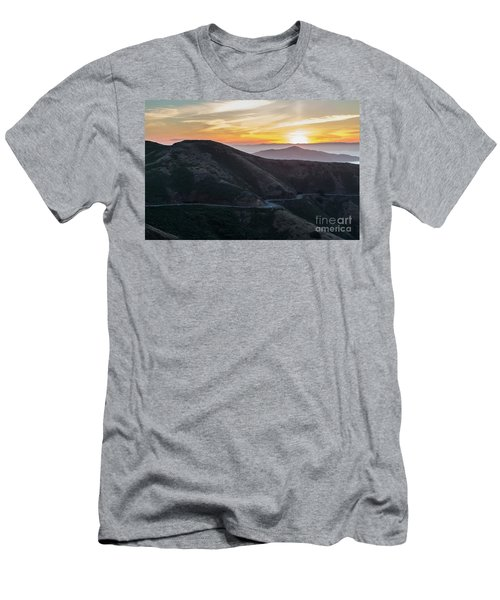 Road On The Edge Of The Mountain With Sunrise In The Background Men's T-Shirt (Athletic Fit)