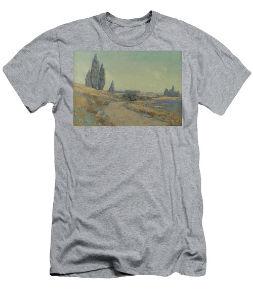 Road Through A Field Of Wildflowers Men's T-Shirt (Athletic Fit)