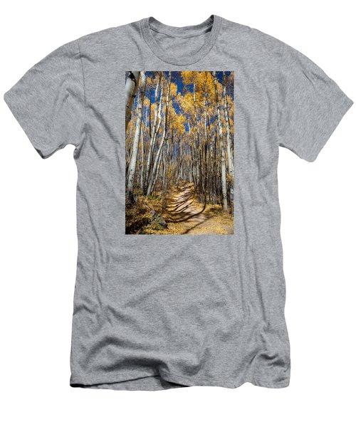 Road Through Aspens Men's T-Shirt (Slim Fit) by Michael J Bauer