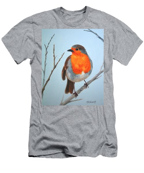 Men's T-Shirt (Slim Fit) featuring the painting Robin In The Tree by Marna Edwards Flavell