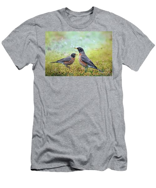 Men's T-Shirt (Slim Fit) featuring the photograph Robins, Heralds Of Spring by Bonnie Barry