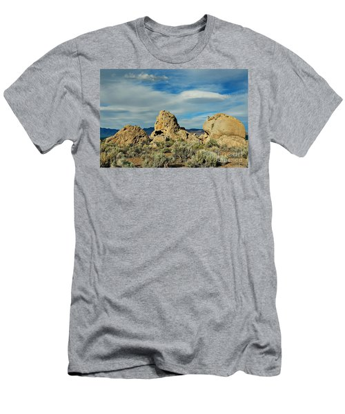 Men's T-Shirt (Slim Fit) featuring the photograph Rock Formations At Pyramid Lake by Benanne Stiens