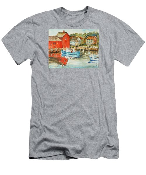 Men's T-Shirt (Slim Fit) featuring the painting Rockport by P Maure Bausch