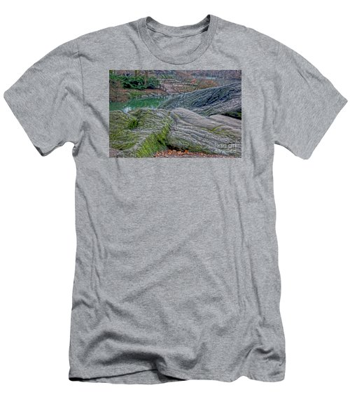 Men's T-Shirt (Slim Fit) featuring the photograph Rocks At Central Park by Sandy Moulder