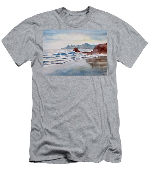 Men's T-Shirt (Slim Fit) featuring the painting Rocky Beach by Geni Gorani