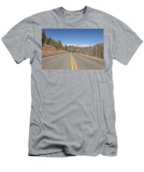 Men's T-Shirt (Slim Fit) featuring the photograph Rocky Mountain Road Heading Towards Estes Park, Co by Peter Ciro