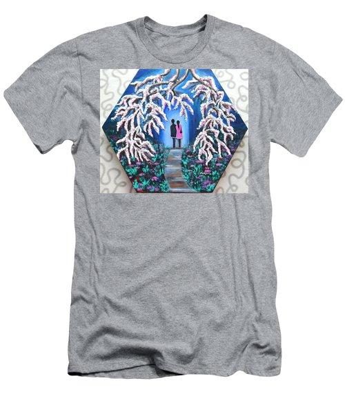 Romance Under Cherry Blossom Textured Hexagonal Painting  Men's T-Shirt (Athletic Fit)