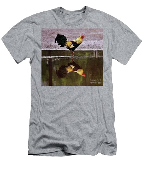 Rooster's Reflection Men's T-Shirt (Athletic Fit)
