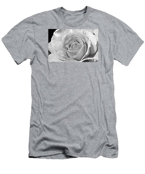Rose In Black And White Men's T-Shirt (Slim Fit)