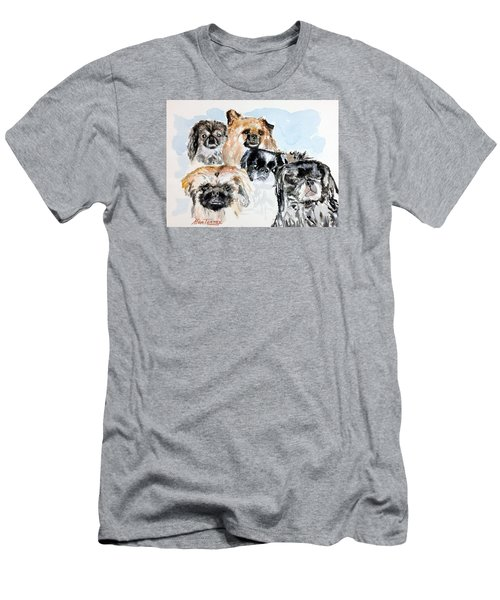 Men's T-Shirt (Slim Fit) featuring the painting Rose's Pekingese by Stan Tenney