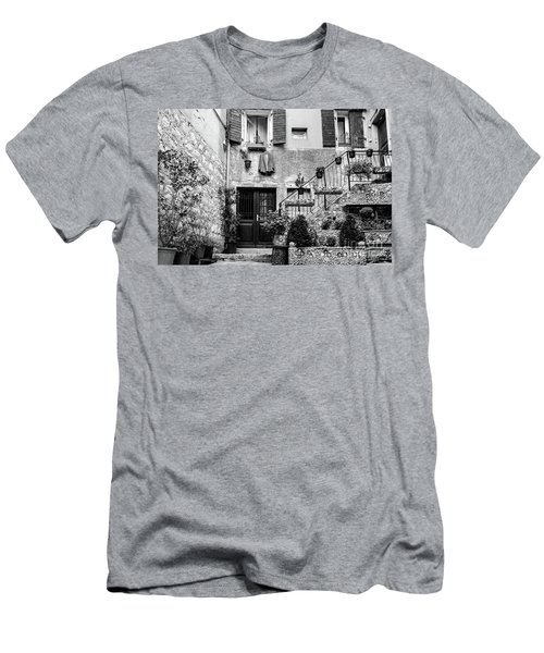 Rovinj Old Town Courtyard In Black And White, Rovinj Croatia Men's T-Shirt (Athletic Fit)