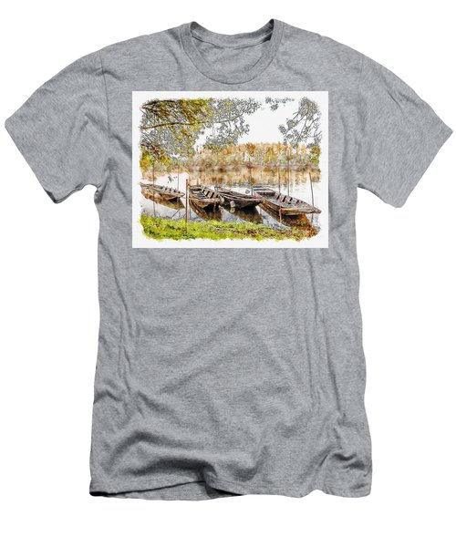 Men's T-Shirt (Athletic Fit) featuring the digital art Rowing Boats And Punts On The Loire France by Anthony Murphy
