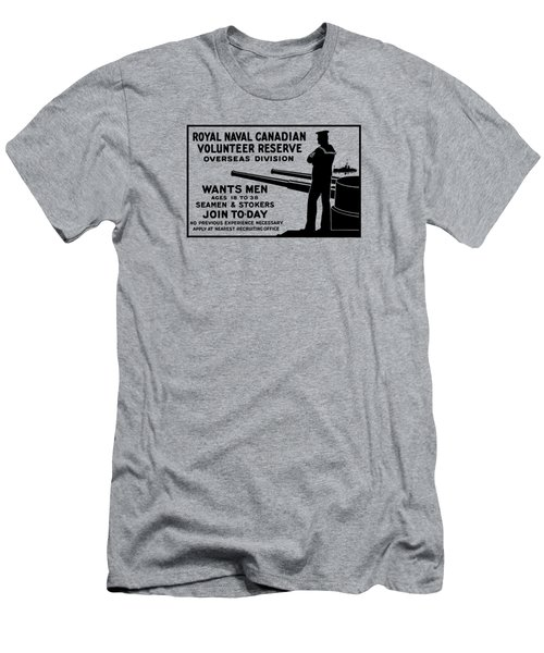 Men's T-Shirt (Slim Fit) featuring the mixed media Royal Naval Canadian Volunteer Reserve by War Is Hell Store