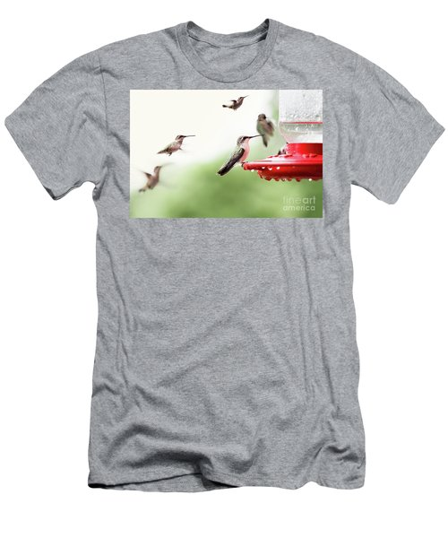 Men's T-Shirt (Slim Fit) featuring the photograph Ruby-throated Hummingbirds by Stephanie Frey