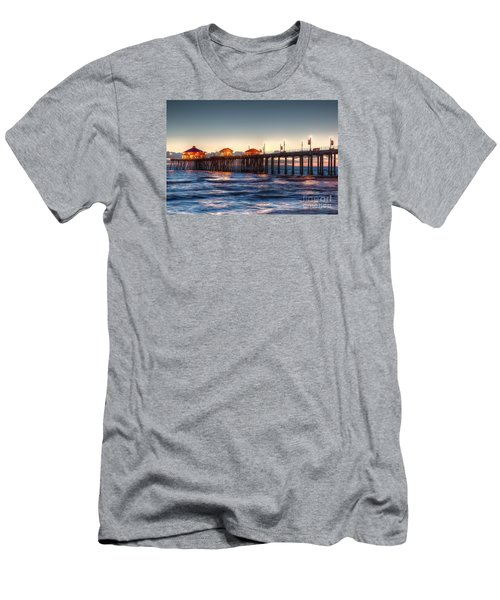 Men's T-Shirt (Slim Fit) featuring the photograph Ruby's Surf City Diner At Twilight - Huntington Beach Pier by Jim Carrell