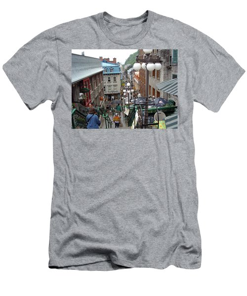 Men's T-Shirt (Athletic Fit) featuring the photograph rue du Petit Champlain by John Schneider