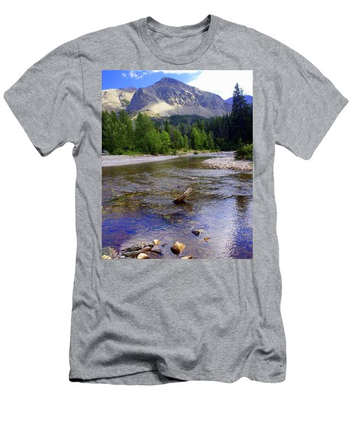 Running Eagle Creek Glacier National Park Men's T-Shirt (Athletic Fit)