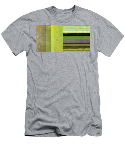 Men's T-Shirt (Athletic Fit) featuring the painting Rustic Green Flag With Stripes by Michelle Calkins
