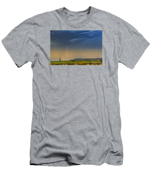 Saguaro With Lightning Men's T-Shirt (Athletic Fit)