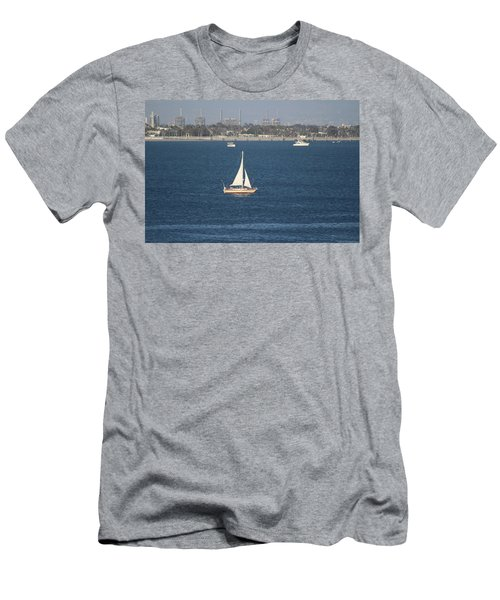 Sailboat On The Pacific In Long Beach Men's T-Shirt (Athletic Fit)