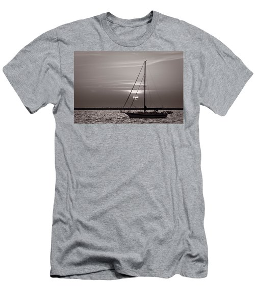 Sailboat Sunrise In B And W Men's T-Shirt (Athletic Fit)