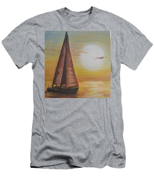Men's T-Shirt (Slim Fit) featuring the painting Sails In The Sunset by Debbie Baker