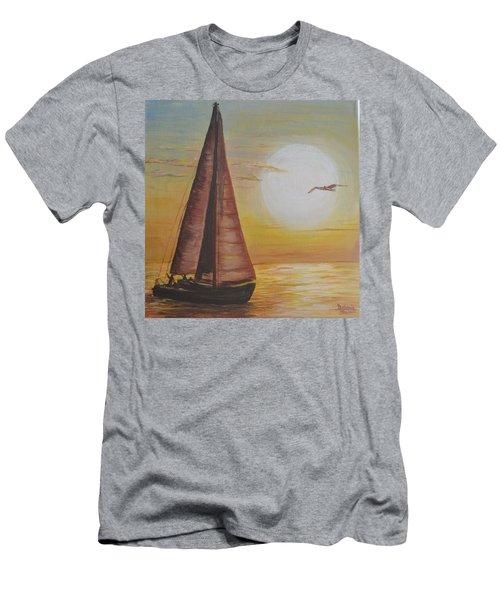 Sails In The Sunset Men's T-Shirt (Slim Fit) by Debbie Baker